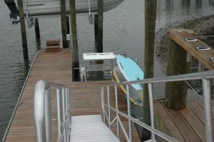 aluminum gangway and offset fish cleaning station